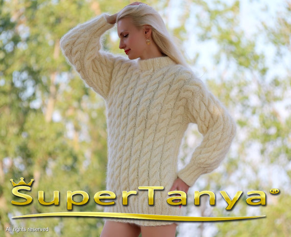 Thick ivory cream hand knitted mohair sweater with by supertanya