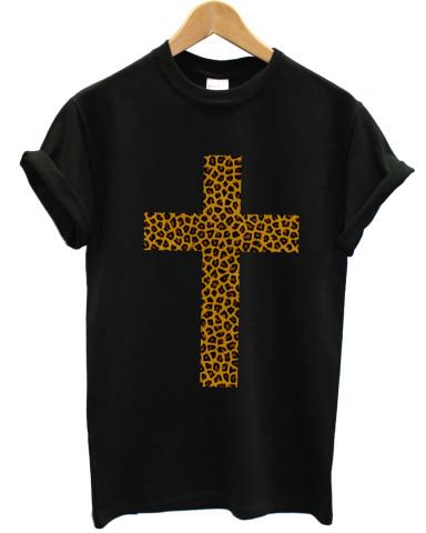 Leopard print cross black t shirt