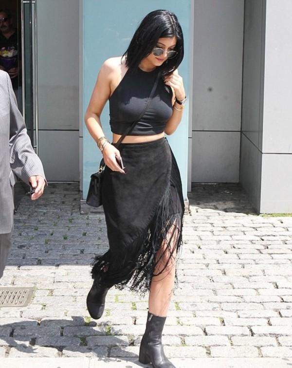 skirt kylie jenner boots shoes shirt crop tops fringe skirt