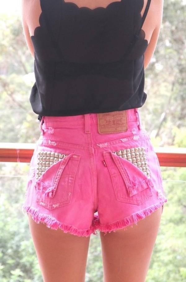 shorts pink blouse denim high waisted hot pink studs