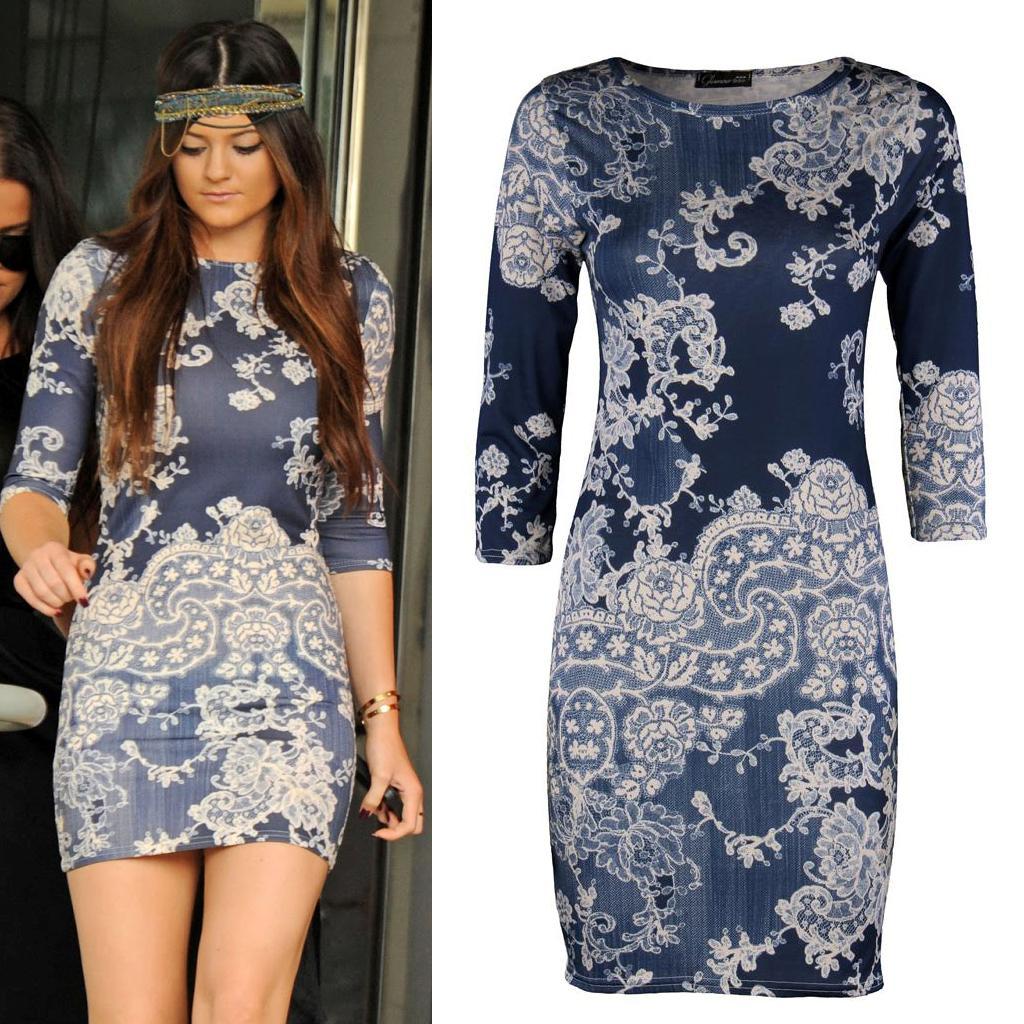 Womens Ladies Celebrity Kim Kardashian Kylie Jenner Bodycon Mini Blue Dress | eBay