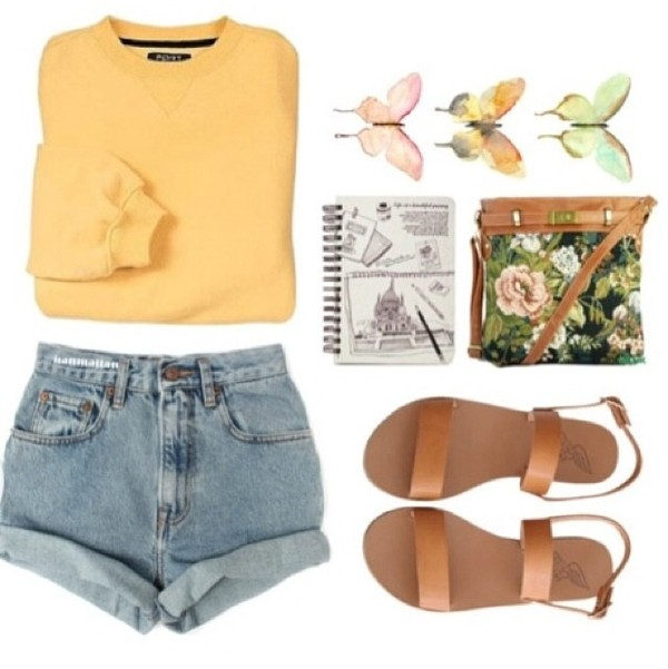sweater yellow black white cute tumblr girl tumblr tumblr clothes natural clothes cool tropical summer shorts shoes bag jewels