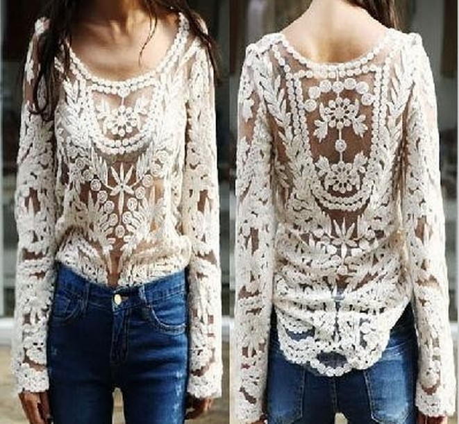 2014 Fashion New Women's Semi Sheer Sleeve Hollow Top Sexy Lace Floral Crochet Blouse Embroidery Shirt For Lady Size S M L XL-in Blouses & Shirts from Apparel & Accessories on Aliexpress.com