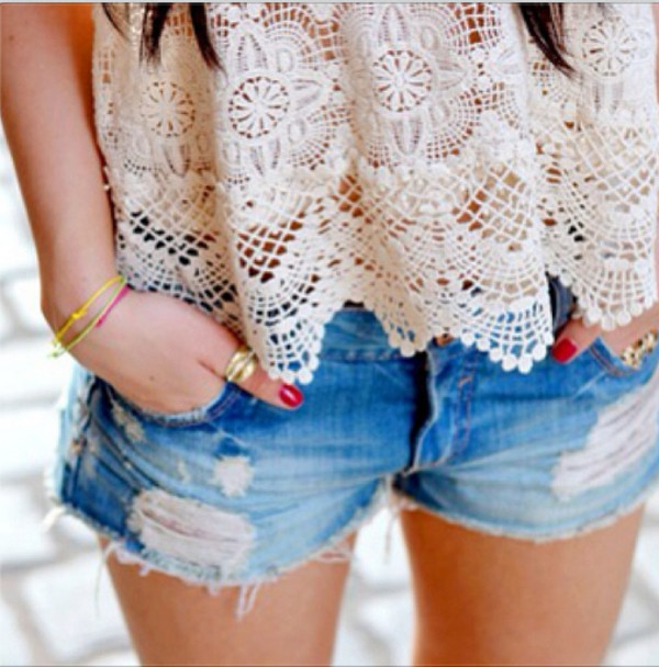 t-shirt lace jewells lace flowy top shorts