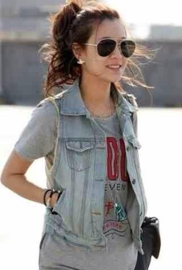 shirt jean vest sunglasses t-shirt jacket
