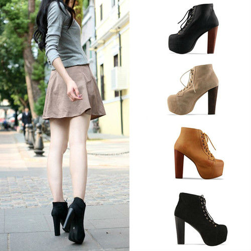 Ladies 4 Color Lita platforms high heels Lace Up Ankle shoes 5 5.5 6 6.5 7-in Pumps from Shoes on Aliexpress.com