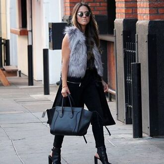 jacket fur jacket gilet blogger duster coat zip off coat blazer grey grey fur 36683