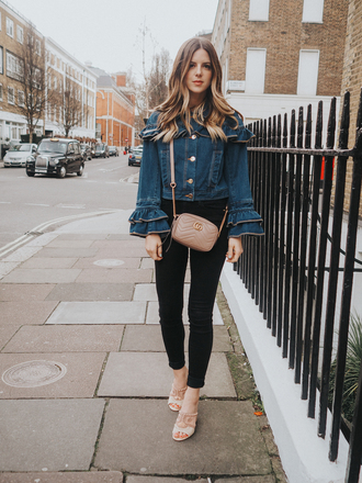 michelle madsen home - take aim blogger shoes jacket jeans bag gucci bag denim shirt skinny jeans sandals mules
