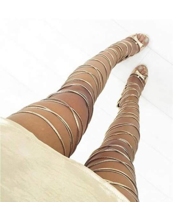 Vixi Rose Gold Snake Lace Up Thigh High Heels : Simmi Shoes