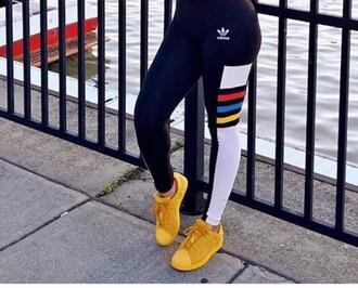 pants adidas adidas shoes adidas originals yellow sportswear leggings workout leggings