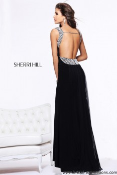 Sherri Hill 11025 Backless Chiffon Prom Dress
