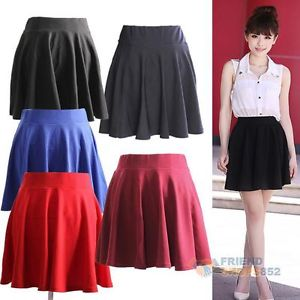 Fashion Women Pleated Flared Mini Skirt High Waist Plain Cotton Blends F8S | eBay