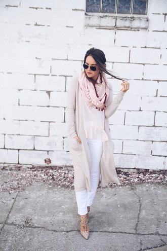 fashionably kay blogger tank top scarf shoes long cardigan beige cardigan pumps white pants