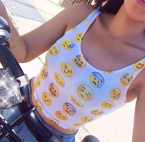 emoji print crop tops shirt tank top