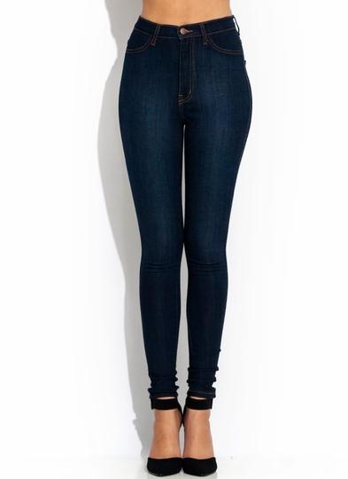 High-Waisted-Skinny-Jeans DKBLUE BLUE - GoJane.com
