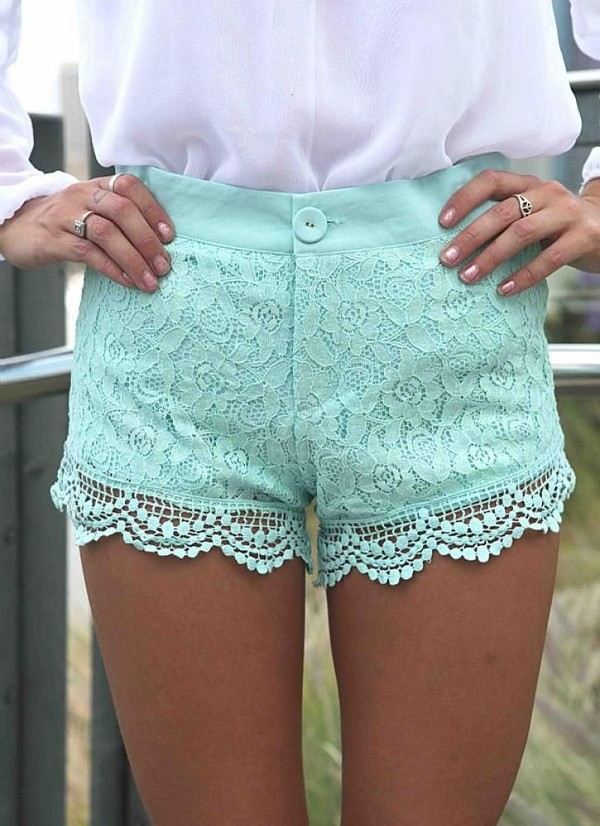shorts lace shorts lace overlay crochet shorts mint mint shorts