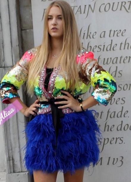 coat dress feather dress feathers sequin dress sequins colorful colorblock