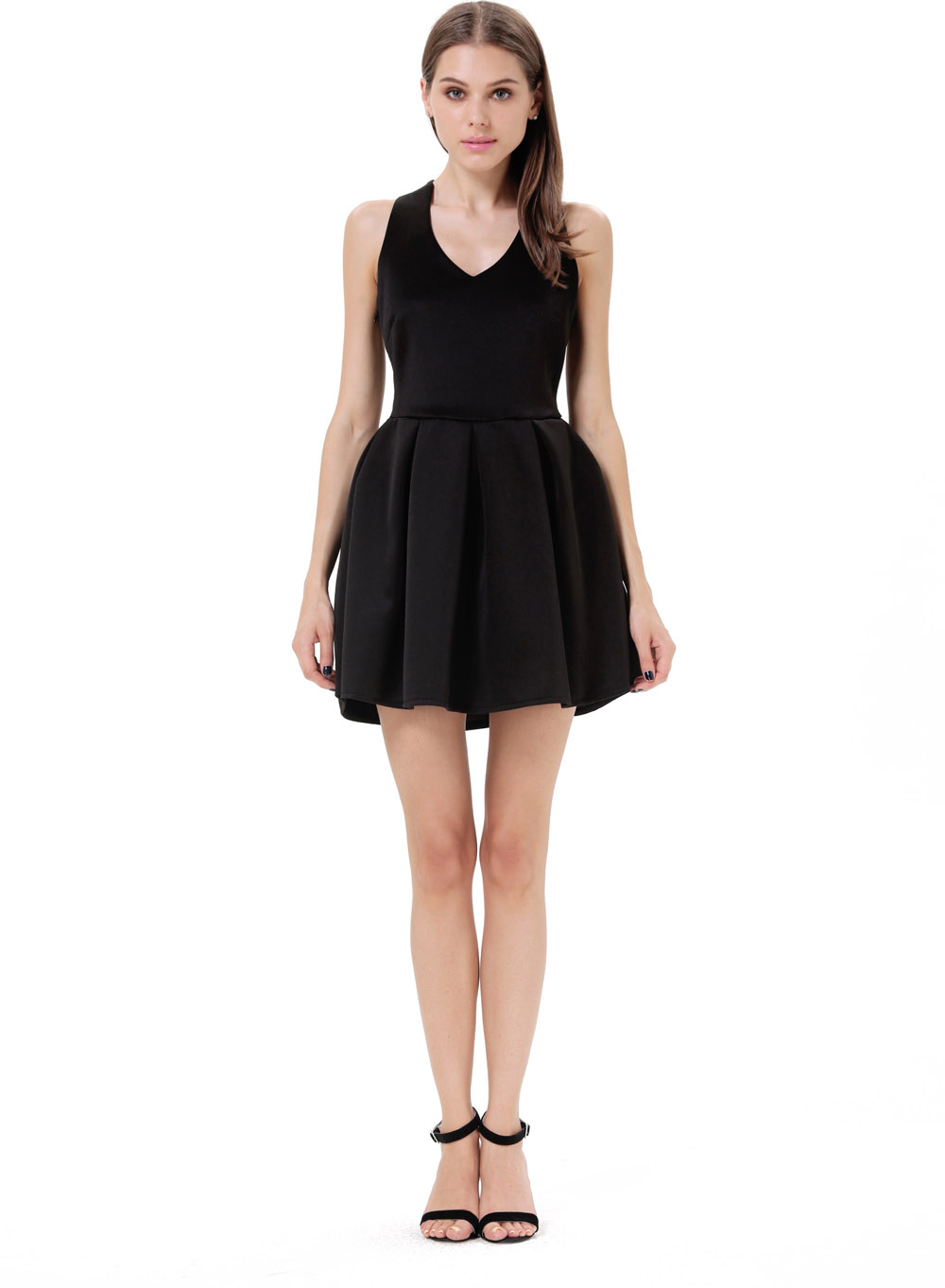 Black Criss Cross Backless Bow Pleated Dress - Sheinside.com