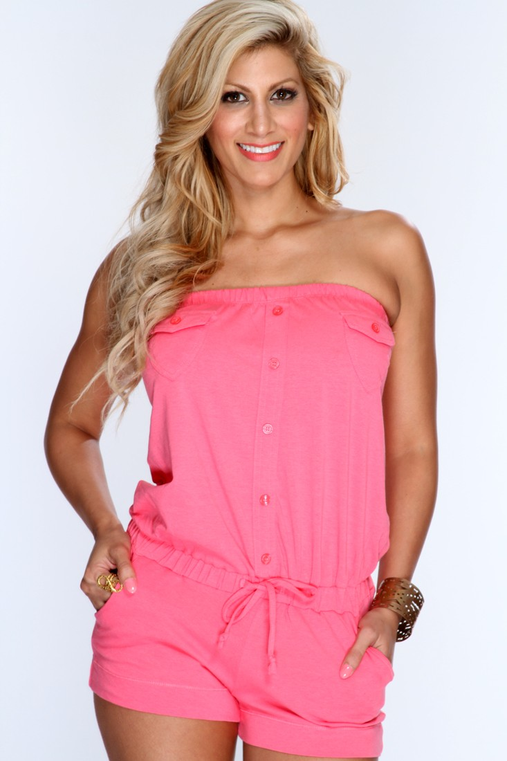 Pink Strapless Button Up Romper Outfit @ Amiclubwear Outfits Clothing online store sales:Sexy Outfit,Jumpsuit,Catsuit,School Girl Outfit,Women's Jumpsuit,Hot Outfit,Dance Outfit,Party Outsuit,teen clothing,Christmas,Nurse,Cheerleading,Wedding,Cowgirl,Club