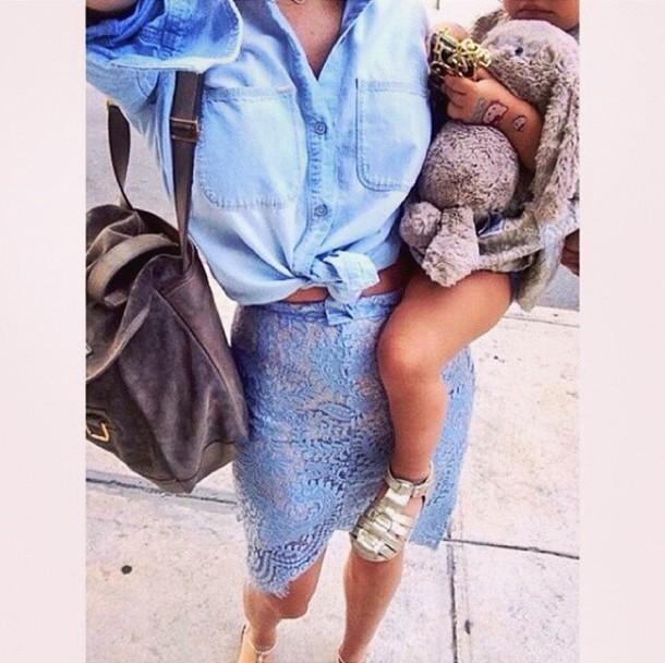 skirt blue skirt lace skirt