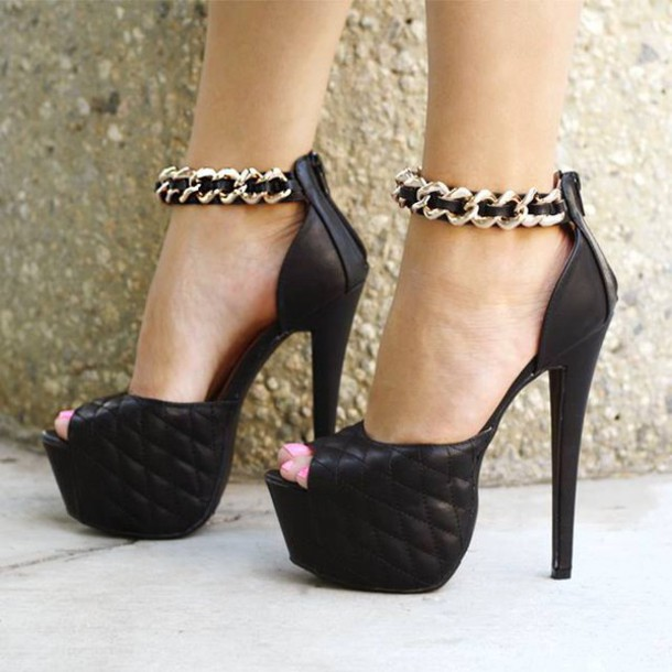 shoes heels chain tall party party shoes classy elegant high heels black heels gold chain