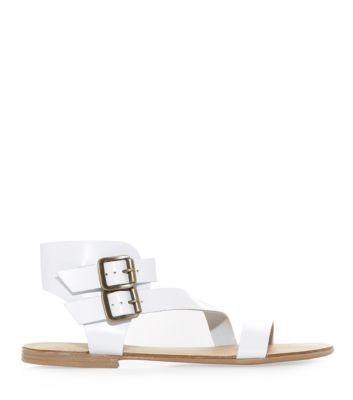 White Leather Asymmetric Strap Double Buckle Sandals