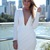 White Party Dress - White Plunge Neckline Long Sleeve | UsTrendy