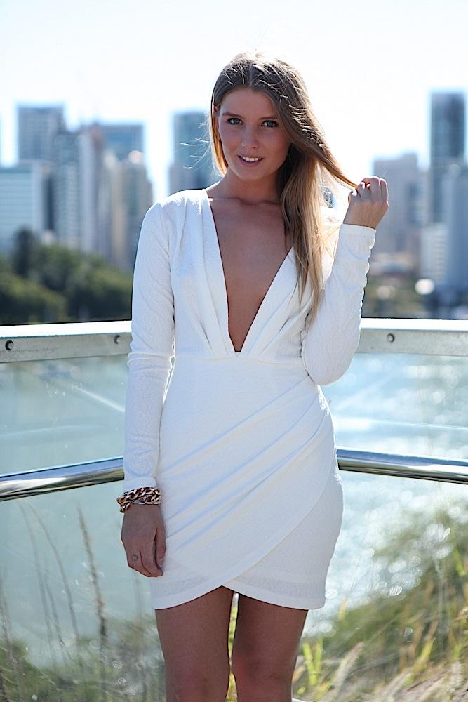 White Party Dress - White Plunge Neckline Long Sleeve | UsTrendy