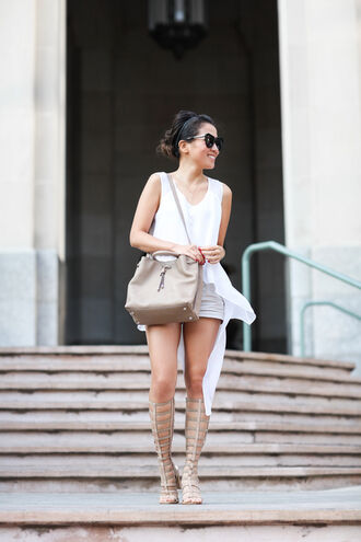 wendy's lookbook blogger top bag shoes sunglasses shirt asymmetric shirt white shirt asymmetrical shorts sandals flat sandals gladiators knee high gladiator sandals nude bag black sunglasses summer outfits asymmetrical top