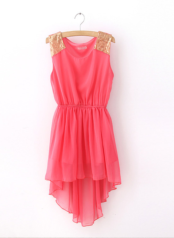 Sequin Shoulders High-Low Chiffon Dress from Shinning on Storenvy