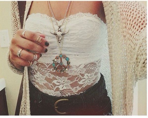 jewels ring lace necklace shirt sweater