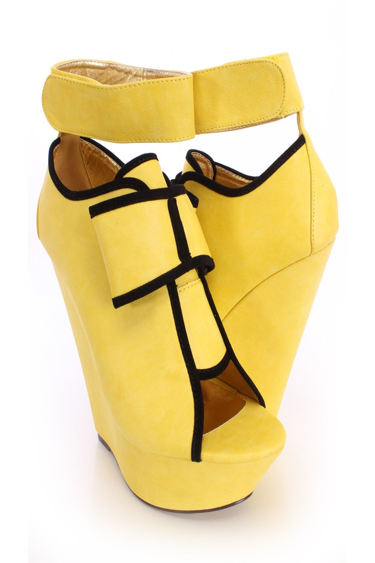 Yellow Bow Accent Peep Toe Platform Wedges Faux Leather