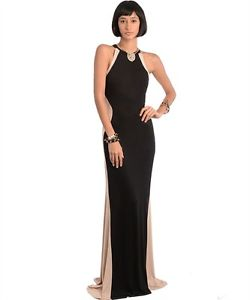 Black and Taupe Color Block Hourglass Silhouette Long Maxi Dress s M L | eBay