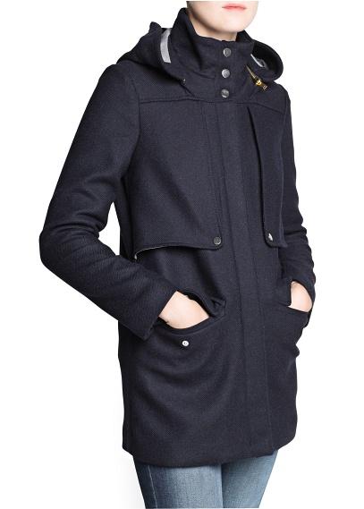 MANGO - CLOTHING - Coats - Herringbone wool-blend parka