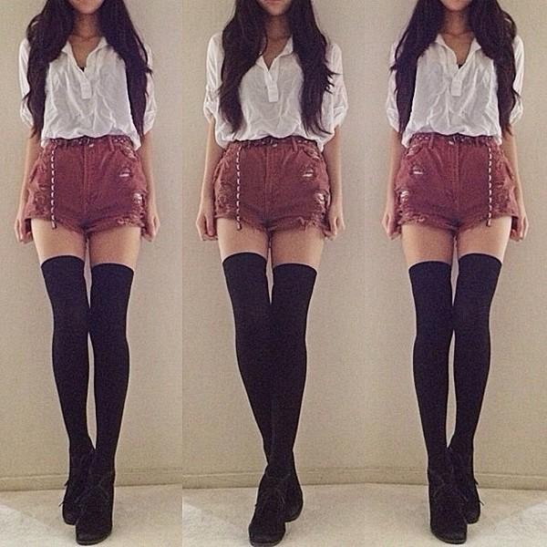shorts burgundy ripped shorts High waisted shorts blouse belt underwear