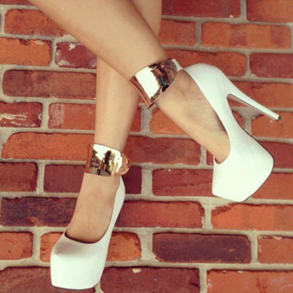 shoes heels high heels white gold heels gold vanille color beaitiful high