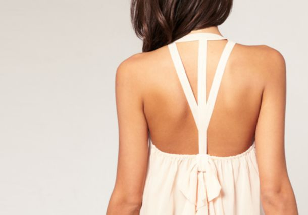 blouse low back open back strappy cream flowy tank top sleeveless