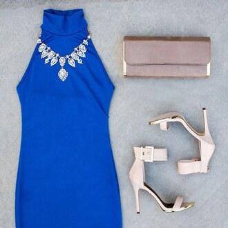 dress royal blue halter dress halter neck midi dress midi cobalt royal blue cobalt blue mock neck gojane