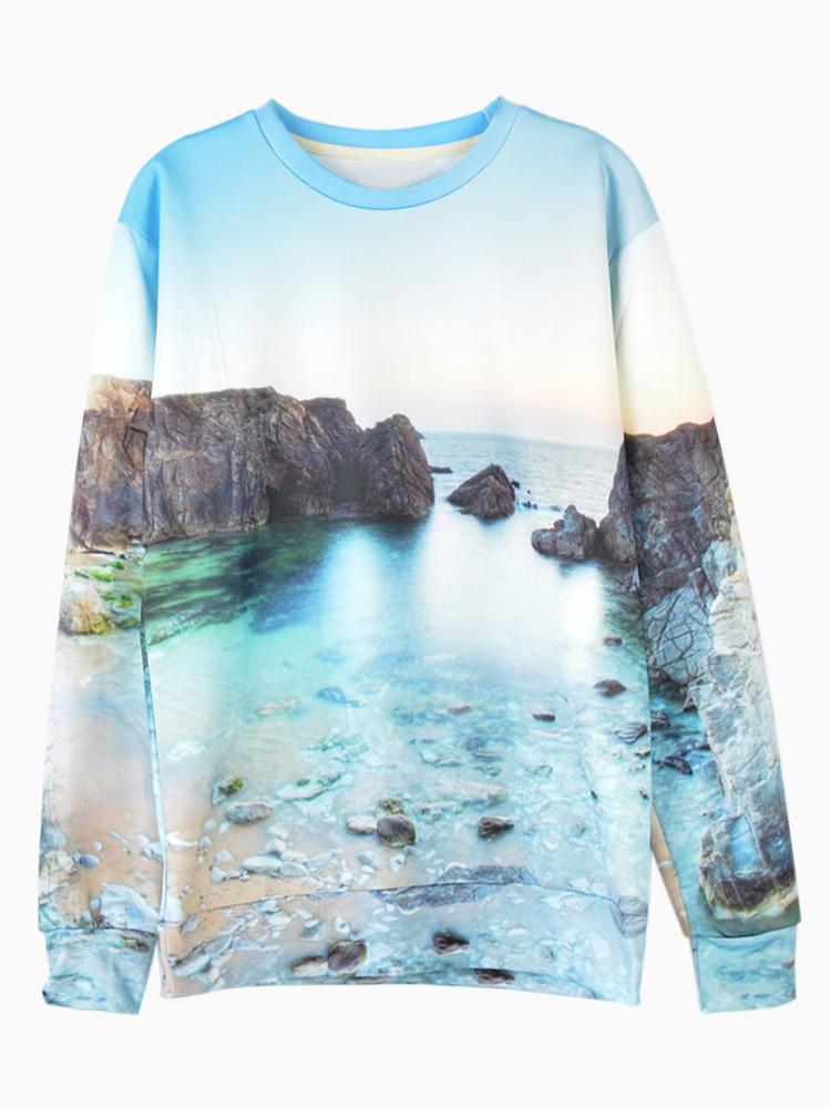 Unisex Sweatshirt With Seascape Print | Choies