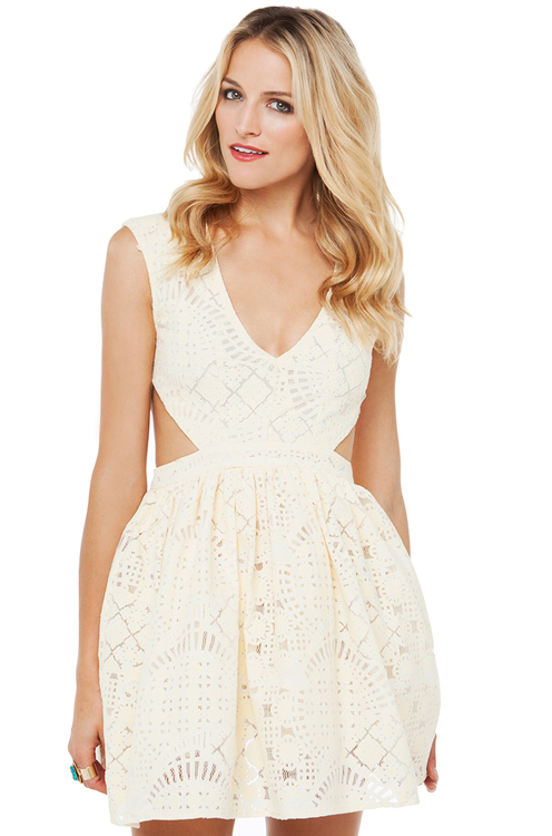 Hindi Lace Cut Out Dress in Yellow