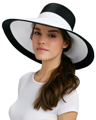Eric Javits Swinger Wide-Brim Hat, Black/White