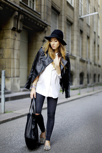 flirting with fashion jacket blouse jeans shoes bag hat leather jacket perfecto ripped jeans blogger leopard print leopard shoes leopard loafers loafers fall outfits zara top shop smoking slippers printed slippers