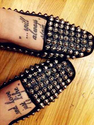 shoes studded flat black