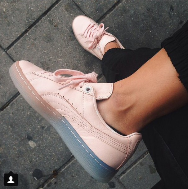 shoes puma sneakers puma pumas pink pink shoes leather pink sneakers