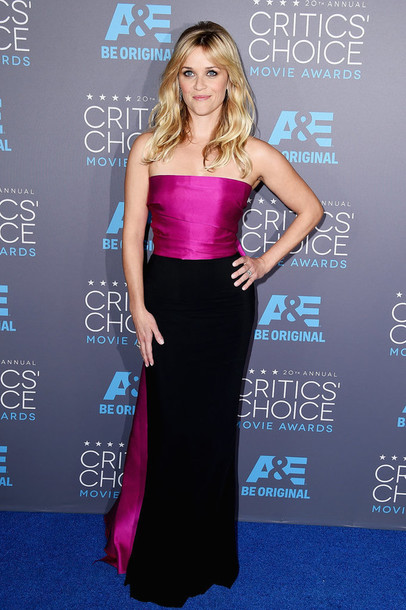 critics' choice movie awards reese witherspoon strapless gown dress