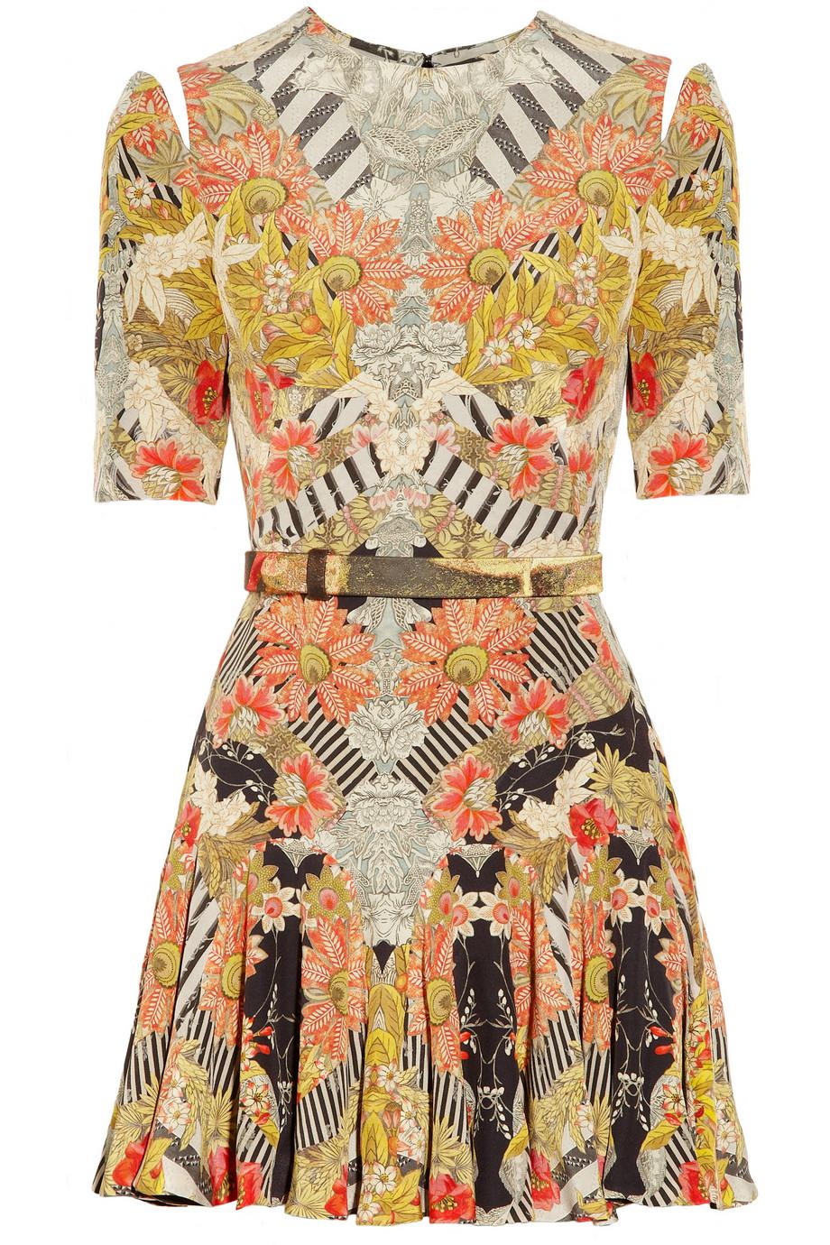 Printed silk dress | Alexander McQueen | 75% off | THE OUTNET