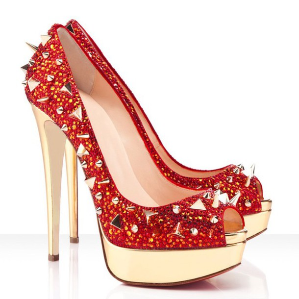 shoes crystal red gold high heels shoes studs