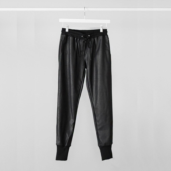 pants heather joggers joggers leather bottoms stretch waist vanityv dress to kill rock vogue vanity row