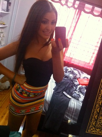 top tank top skirt aztec tribal pattern strapless mini skirt aztec skirt neon nails orange skirt orange yellow neon yellow clothes bodycon