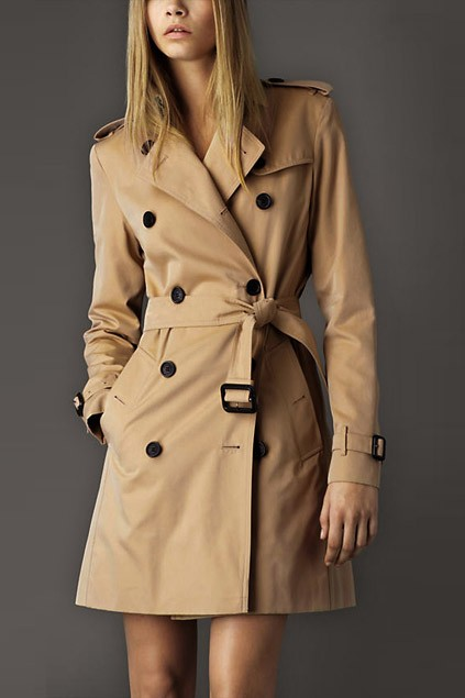 Army Style Double Breasted Trench Coat with Belted Waist - OASAP.com